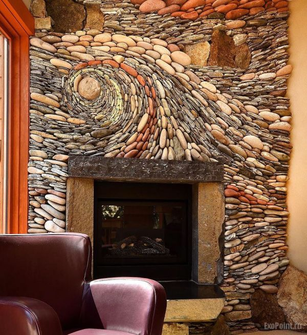 this swirly fireplace stone