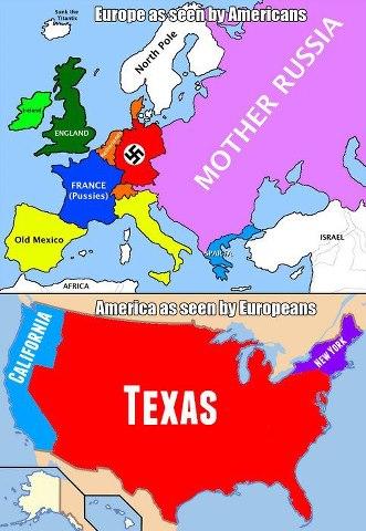 Map Of Texas Vs Europe.Viewpoints America Vs Europe