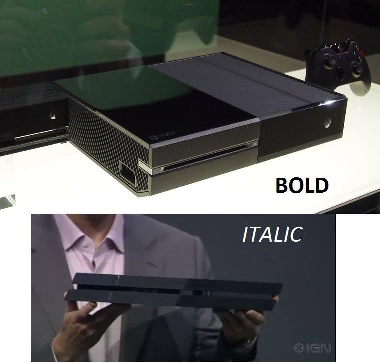 XBOXONE - Bold PS4 - Italics Wii U - Comic Sans