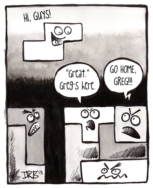 Greg has trouble fitting in.