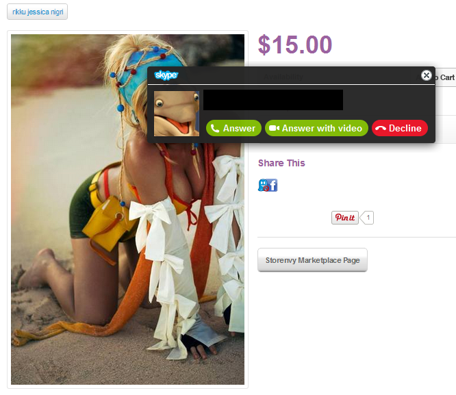 216878 called me on skype while i was looking up a cosplayer, this is