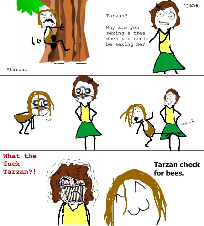 Tarzan needs to be careful of the bees