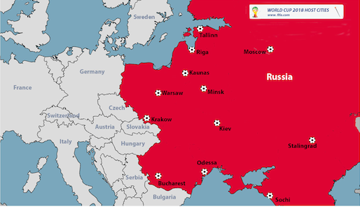 Russia has announced host cities for Fifa World Cup 2018