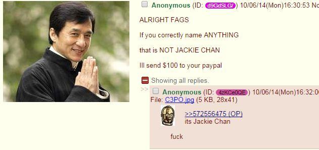 "/b/ plays ""name 10 things that are not Jackie Chan"""