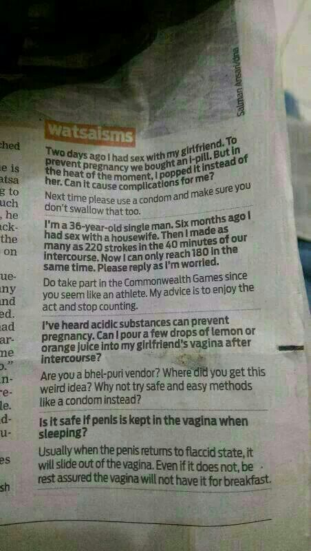 Sex ed questions in an Indian newspaper.