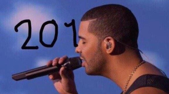 Happy New Year courtesy of Drake's hairline.