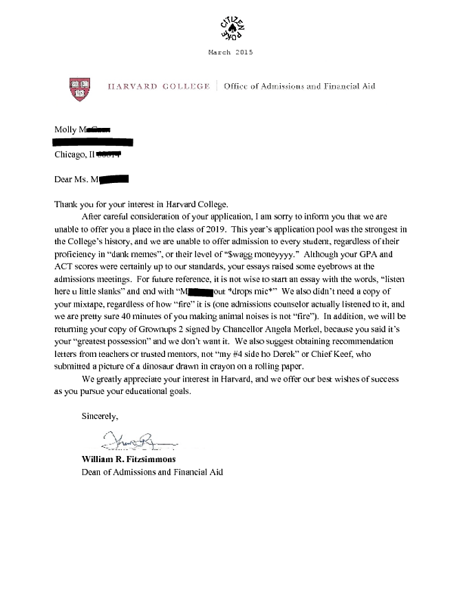 Harvard rejection letter altavistaventures Images