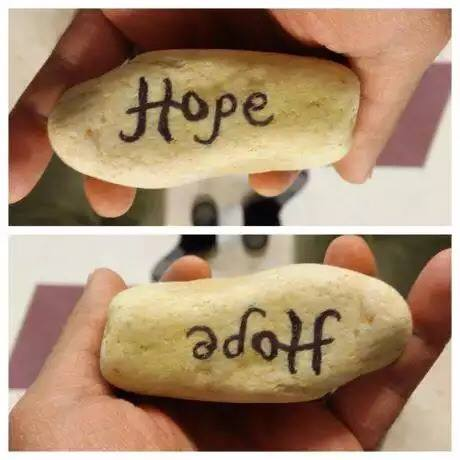"A stone containing the word ""Hope"" styled in a way that it becomes ""adolf"" when turned around."