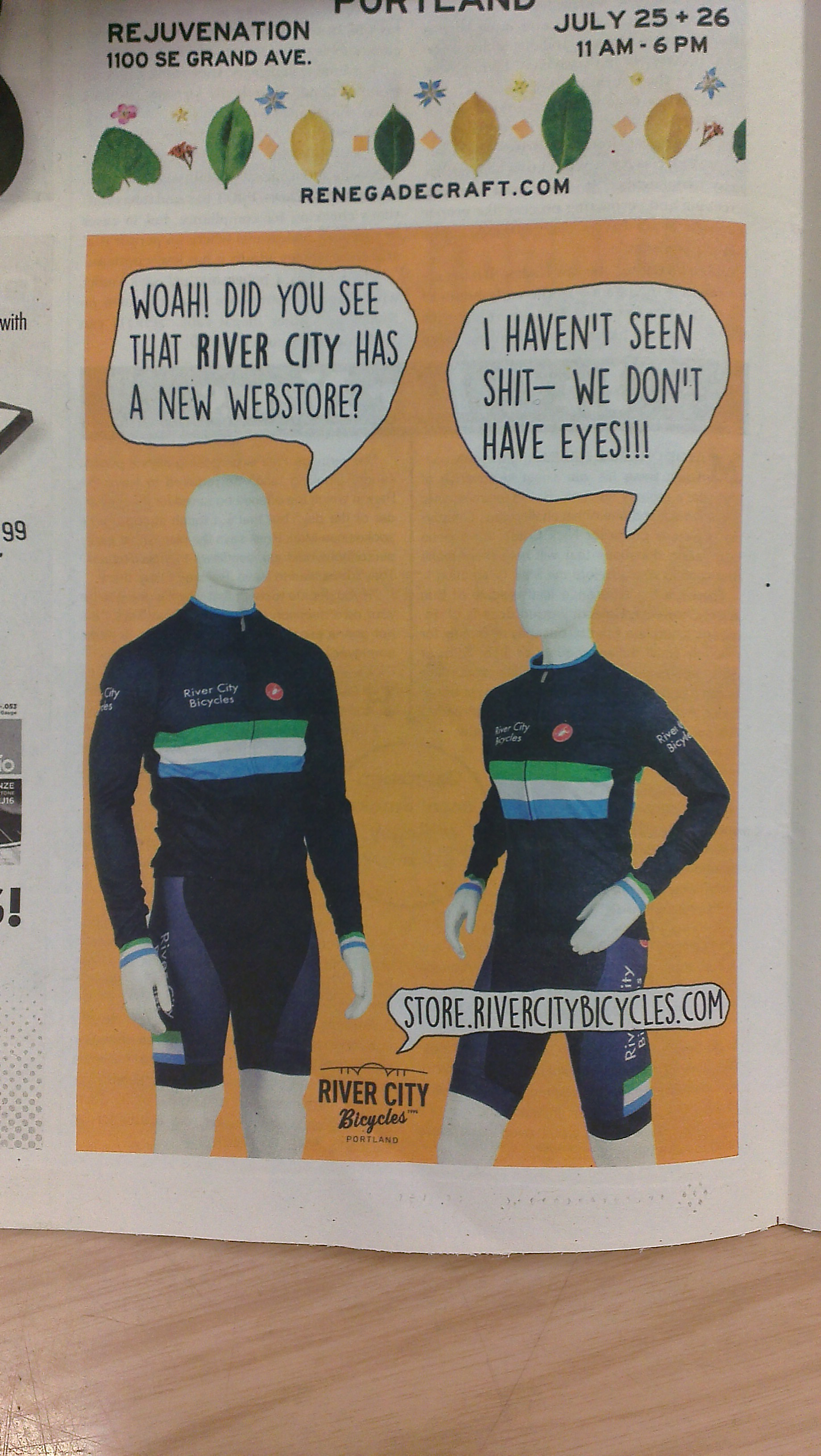 This advertisement for a local bicycle shop.