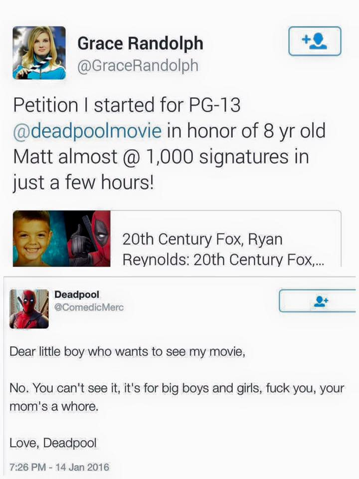 Deadpool's response to the petition to make Deadpool pg-13