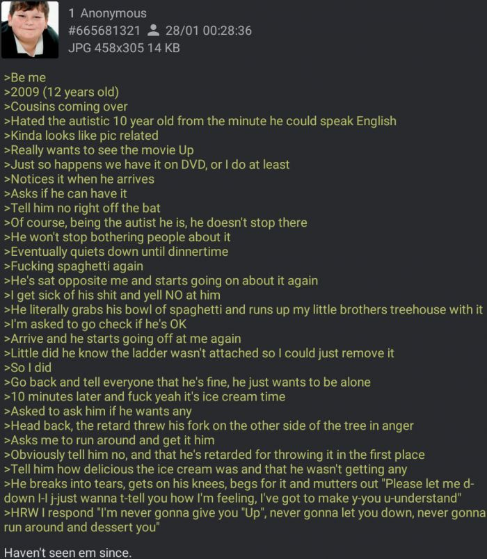 Anon's cousin wants to watch ''Up''