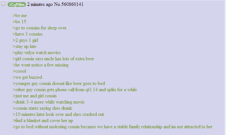 Anon having a sleepover with his cousins