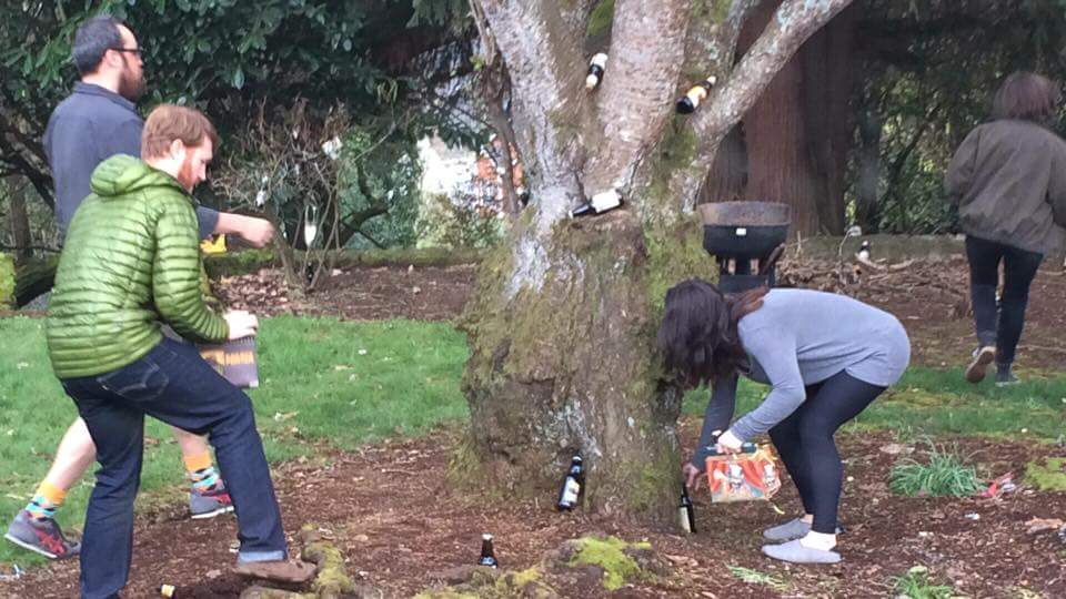 After their egg hunt, the kids hid beer for the grownups to find.