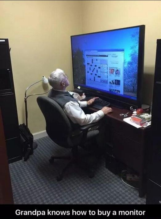 Poor eyesight and a desire to game leads to this grandpa's battlestation