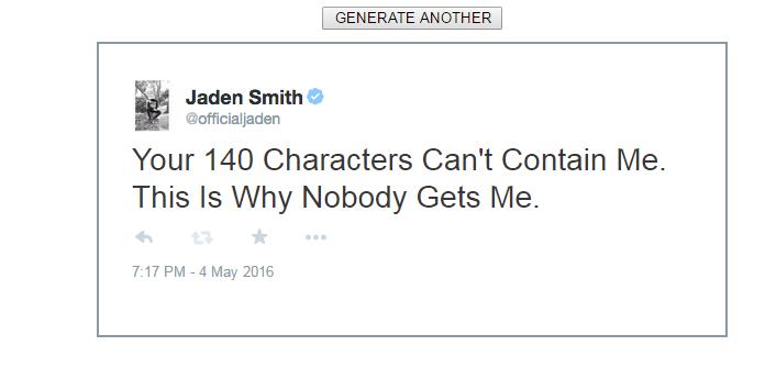 So There Is A Jaden Smith Tweet Generator