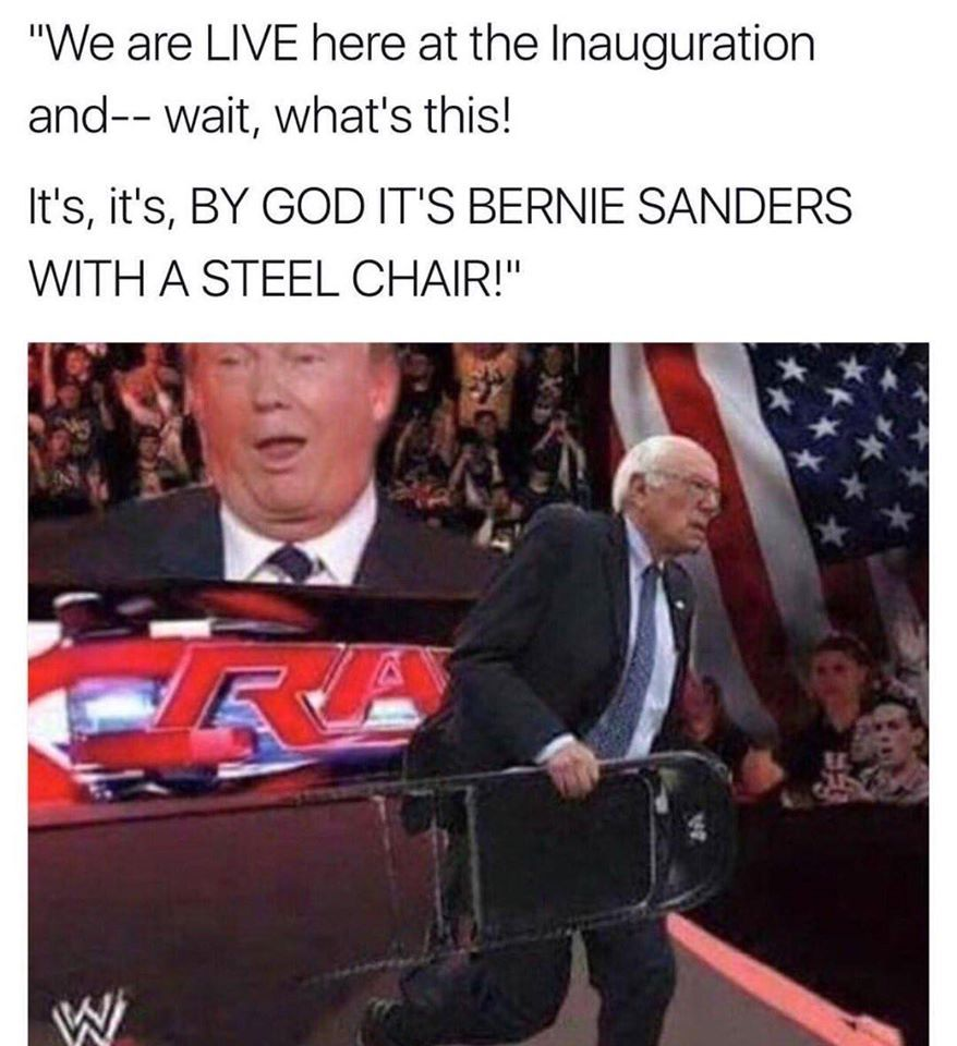 anouncers voice* Lets see if he can stump the Trump or feel the Bern