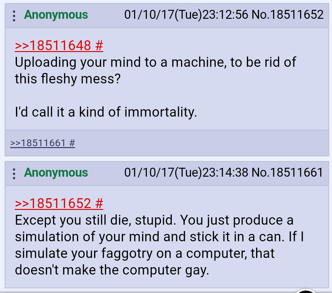 Anon on immortality and artificial intelligence