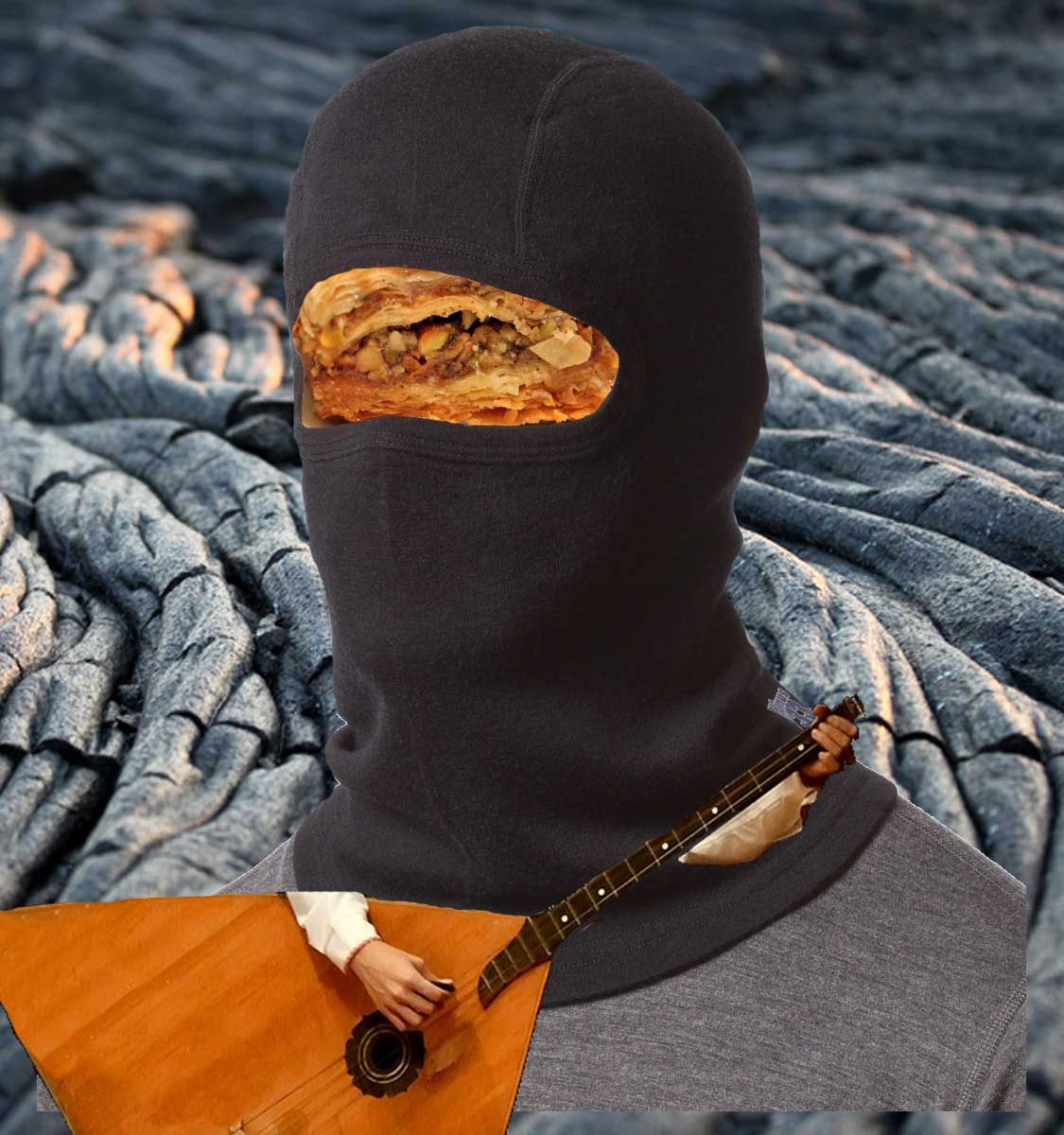 A baklava wearing a balaclava while playing a balalaika on black lava