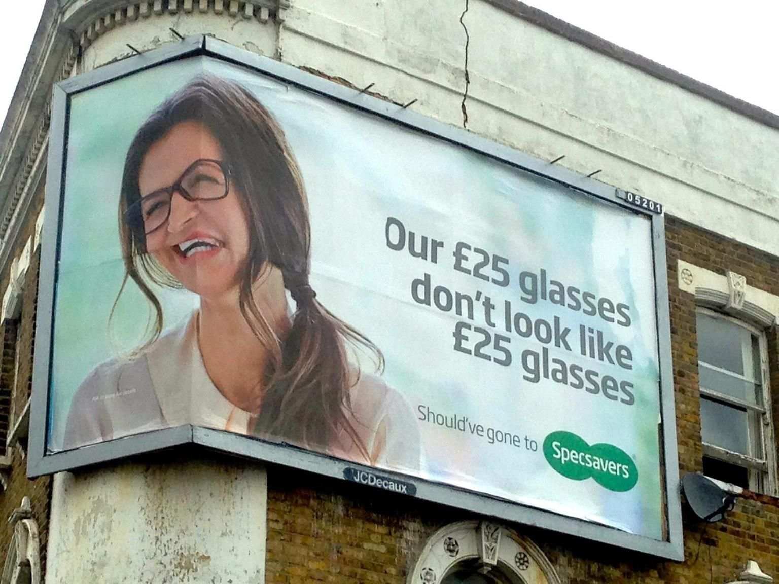 How not to design a glasses advertisement.