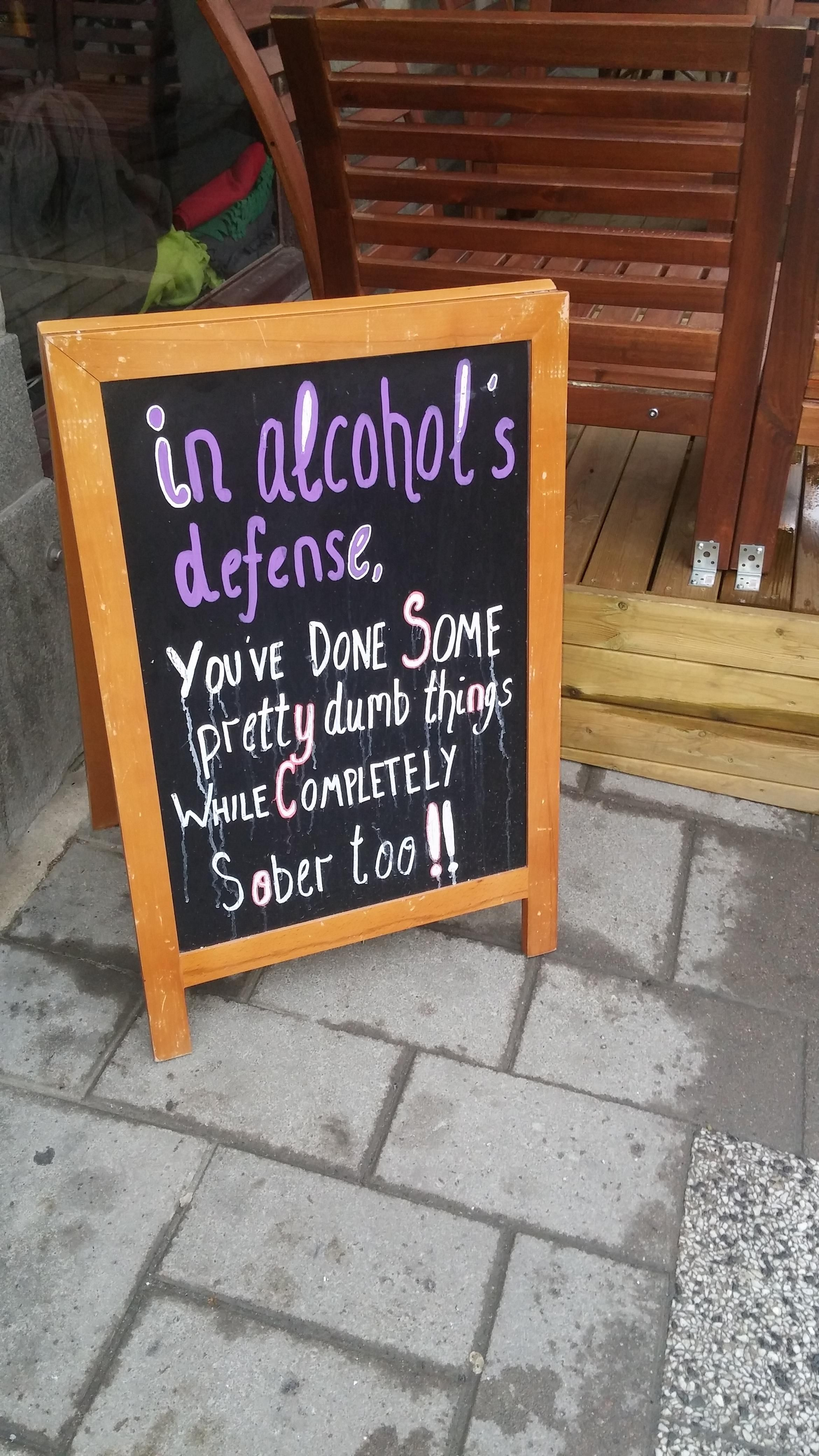 In alcohol's defense.