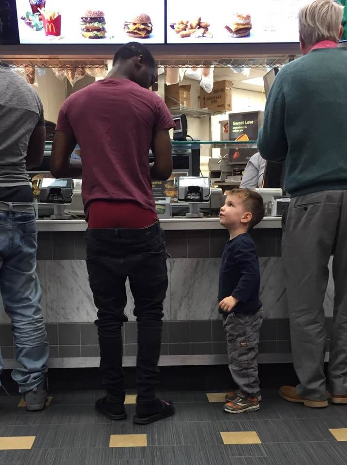 """""""When your three year old tells man at McDonalds that his pants are falling down."""" -friend's photo"""