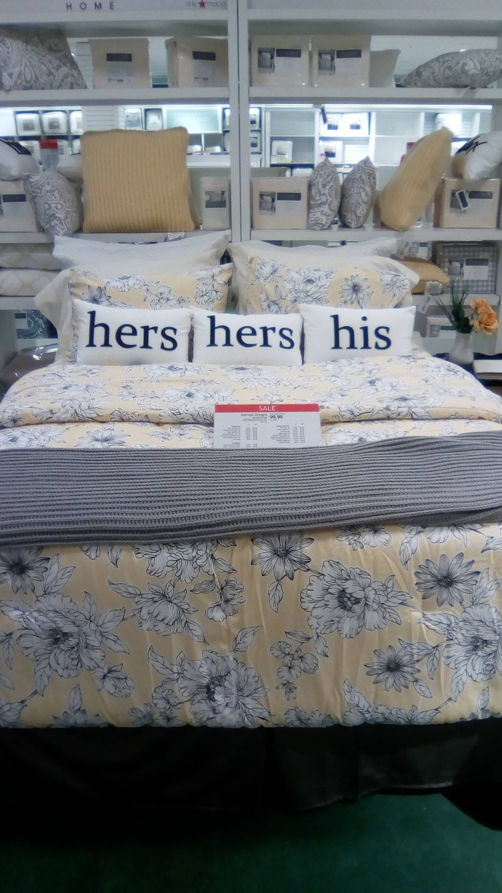 So I just corrected/improved the bedding display at Macy's