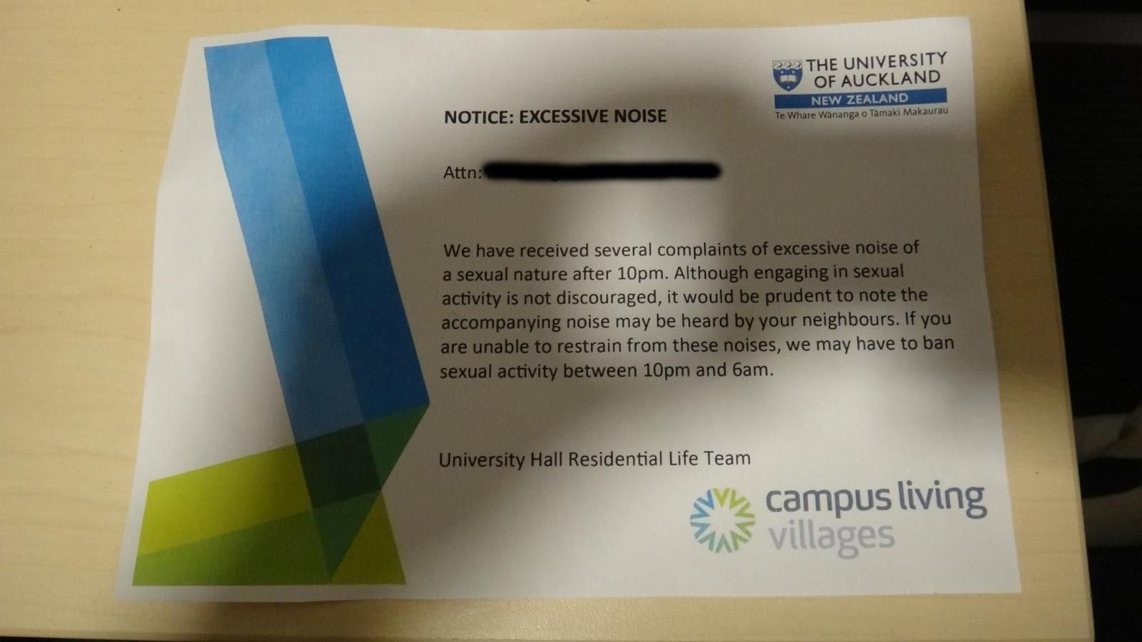 Excessive noise of a sexual nature - University of Auckland