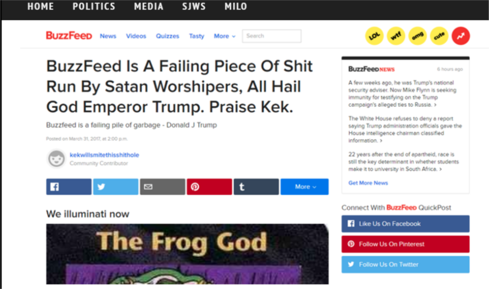 """""""Russian Egyptian frog cult is tampering with our website!"""" - CNN"""