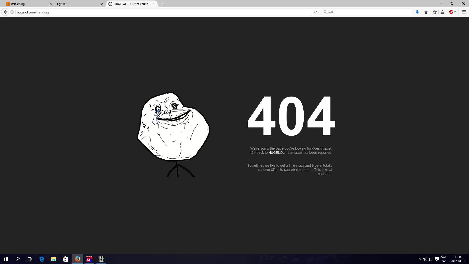 """The 404 screen screams """"Normie"""""""