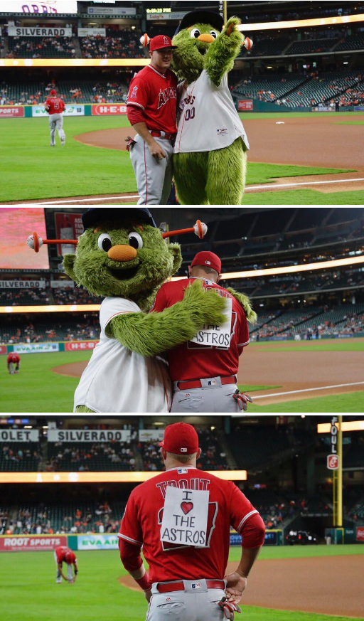 Houston Astros mascot trolls Mike Trout of the Angels.