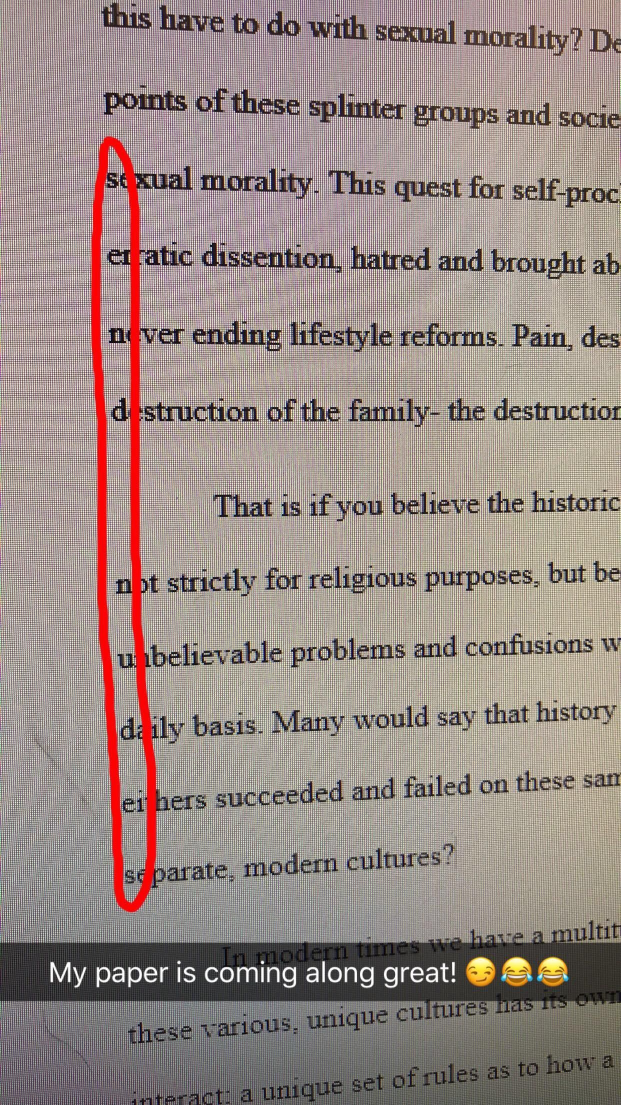 "Snuck this into a paper about ""sexual morality""."