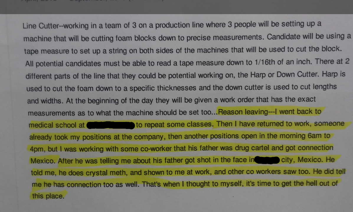 Craziest excerpt from a 6 page resume HR sent to me for review.