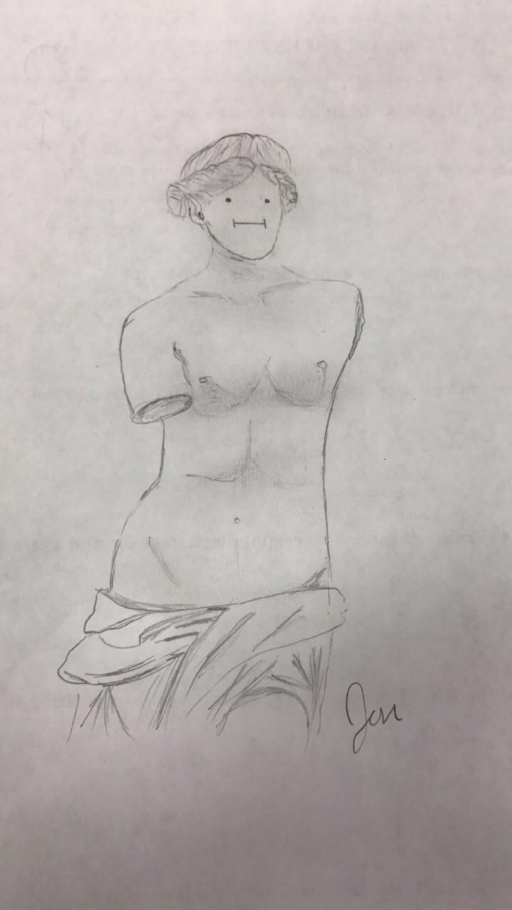 Got bored in physics class, so I decided to draw Venus de Milo. Now I can't stop laughing