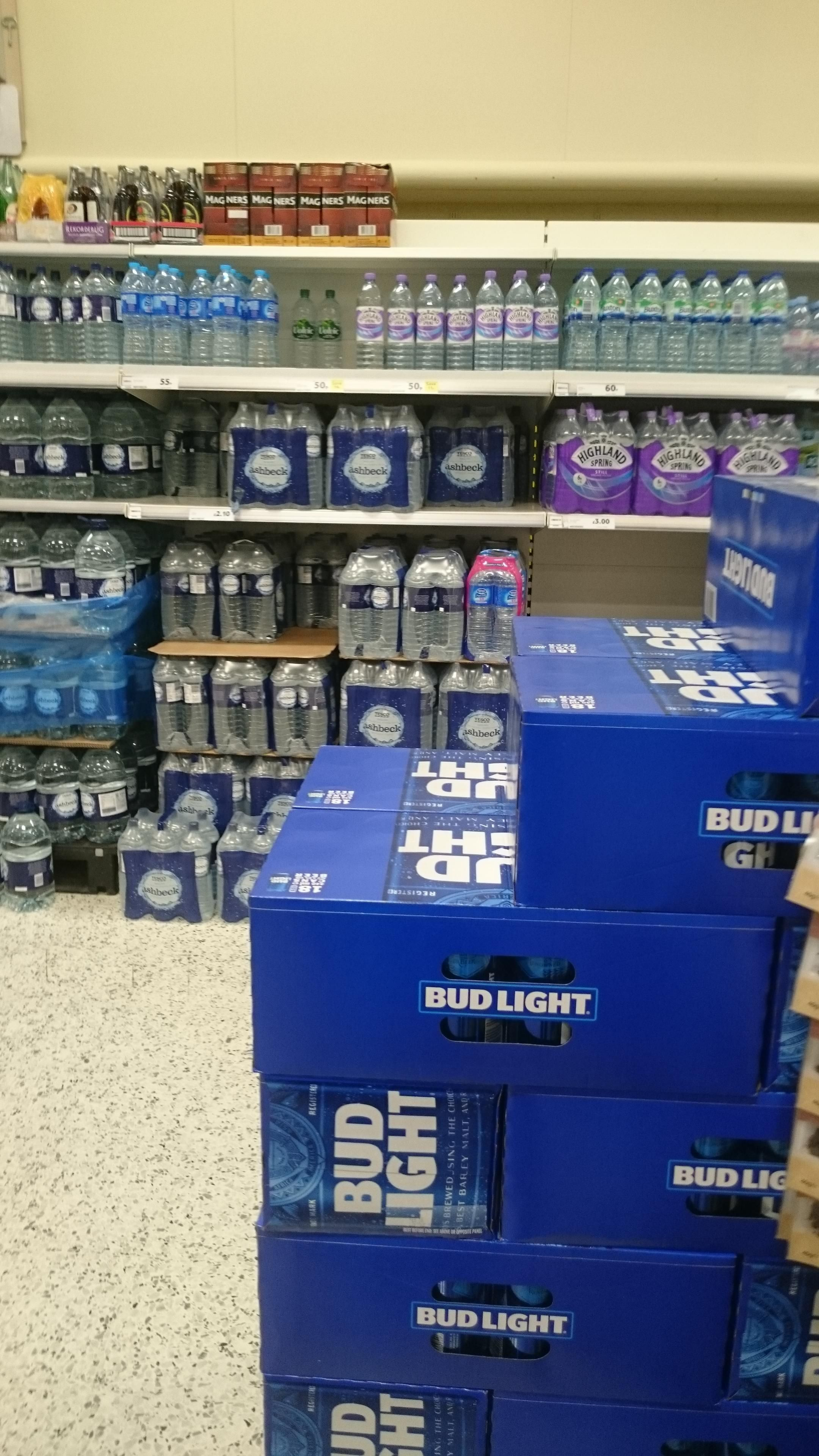 We've started getting Bud Light in the UK. My local supermarket is keeping it next to the water.
