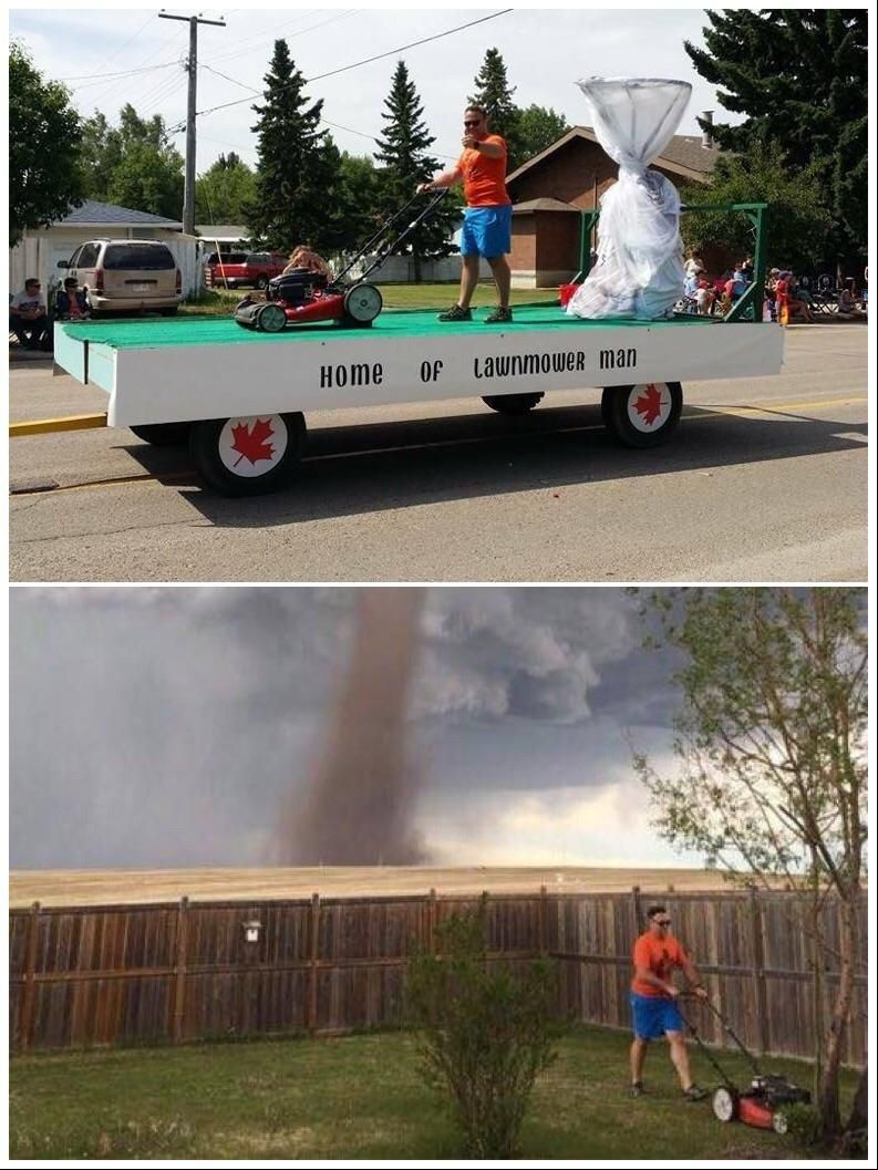 Remember The Guy Who Was Cutting His Lawn During The Tornado Well