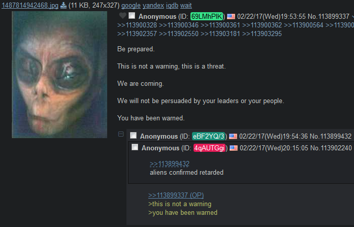 Anon confirms alien's intelligence