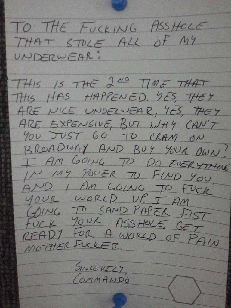 This girl has had just about enough of her underwear being stolen.