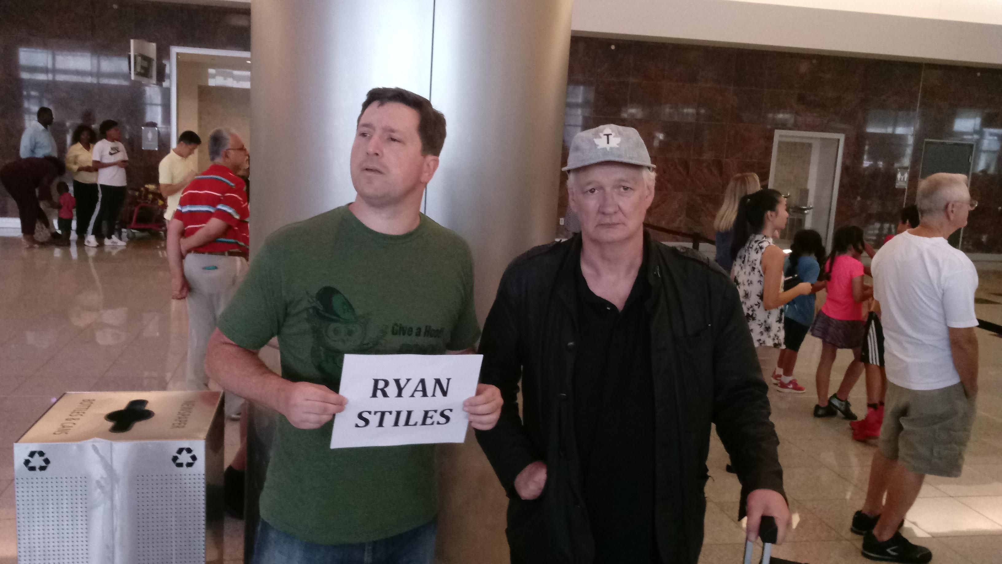 Picking Colin Mochrie up from the airport.