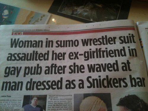 Newspaper headline I thought I would never read..