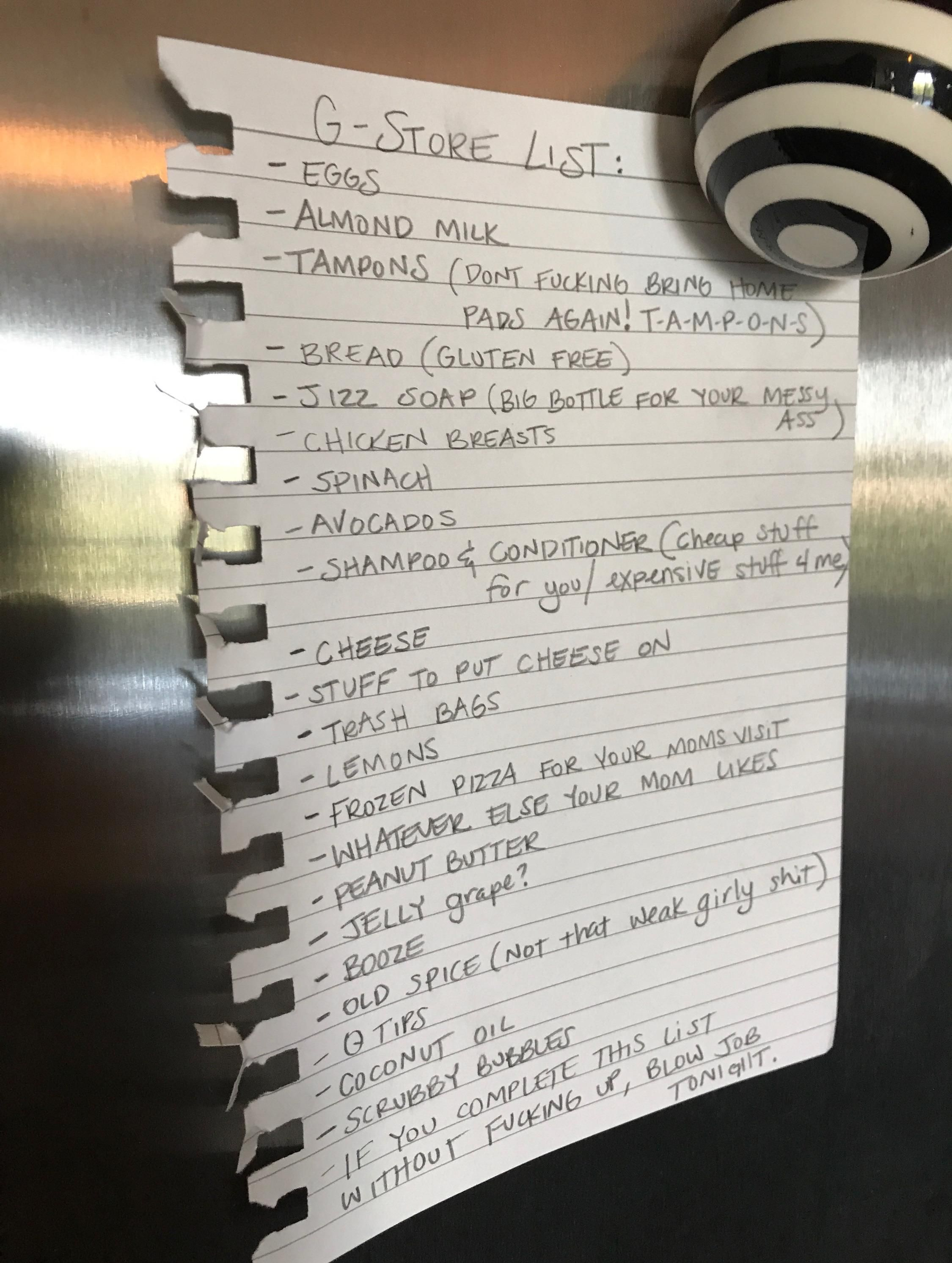 Wife left me a sexually CHARGED grocery list.