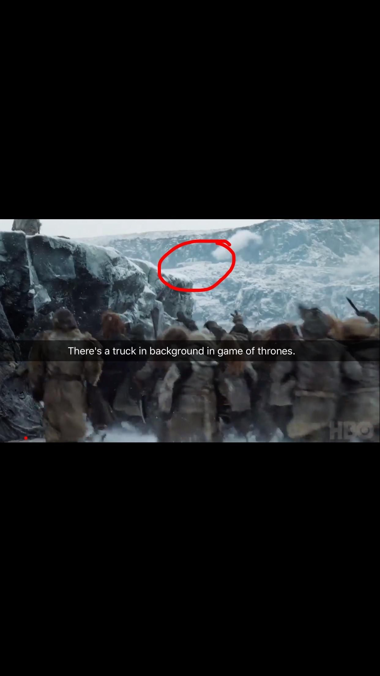 A pickup truck in the background of Game of Thrones