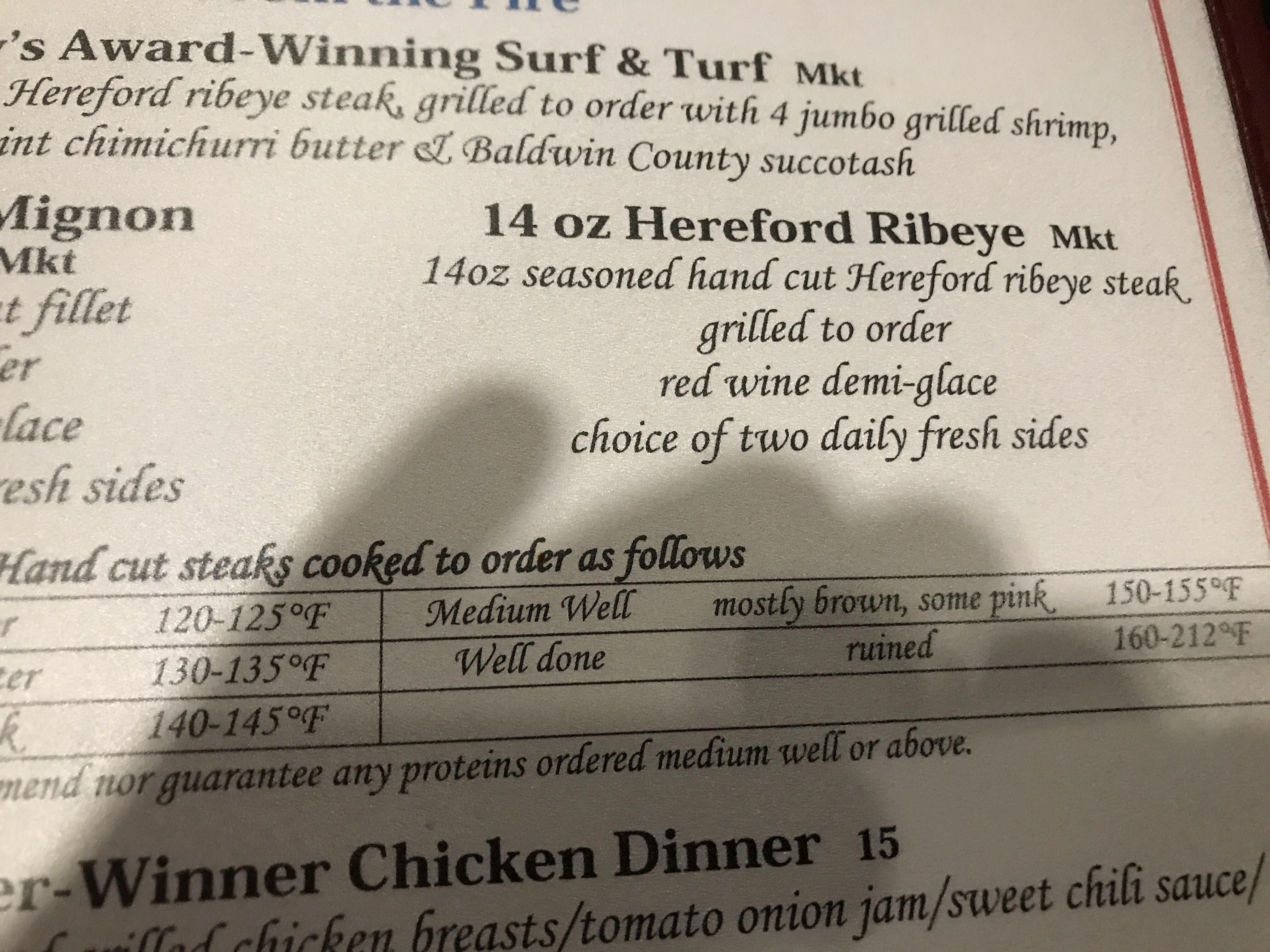 Restaurant I'm eating at tonight pulls no punches on how you eat your steak.