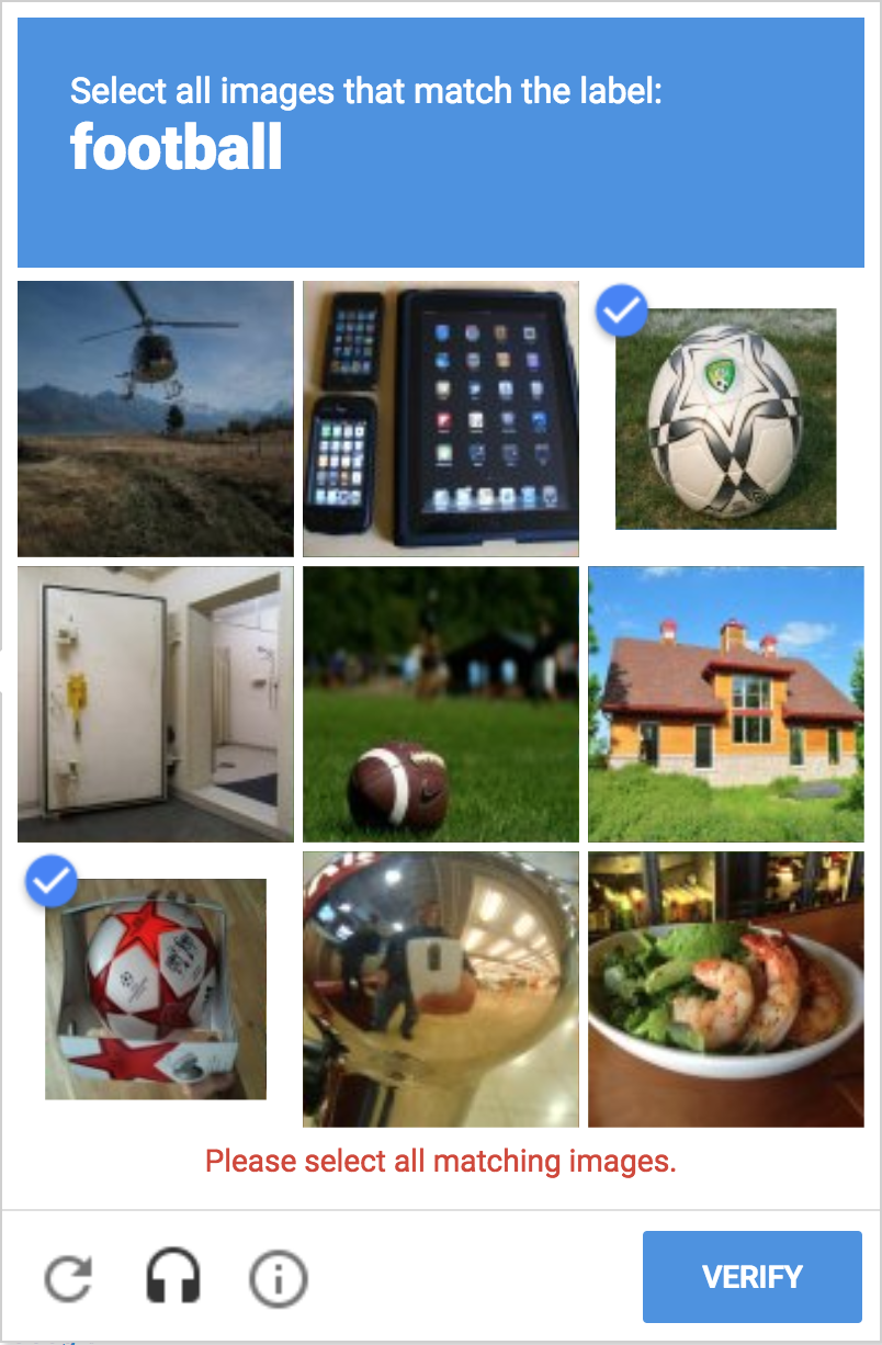 I can't complete this captcha. I can only find two footballs