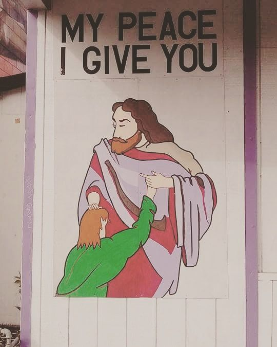 This church by my house should REALLY reconsider this painting on the side of their building.