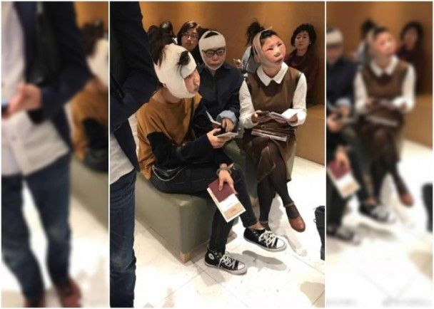 Custom cannot identify these girls who are on their way back to China after having plastic surgery in Korea