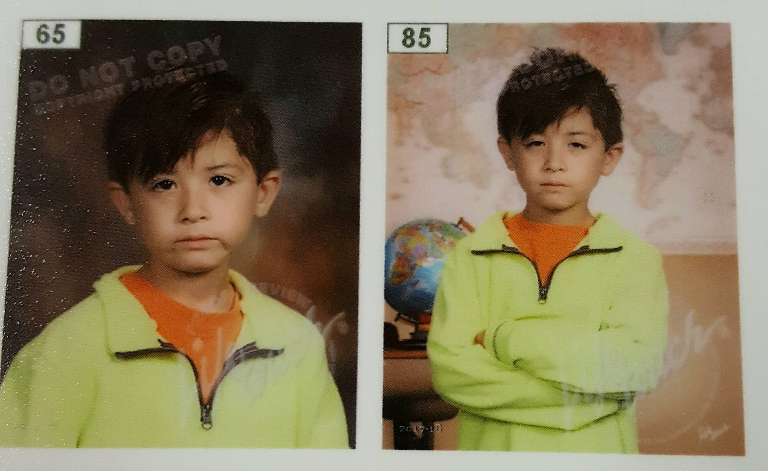 My son protesting school pictures.