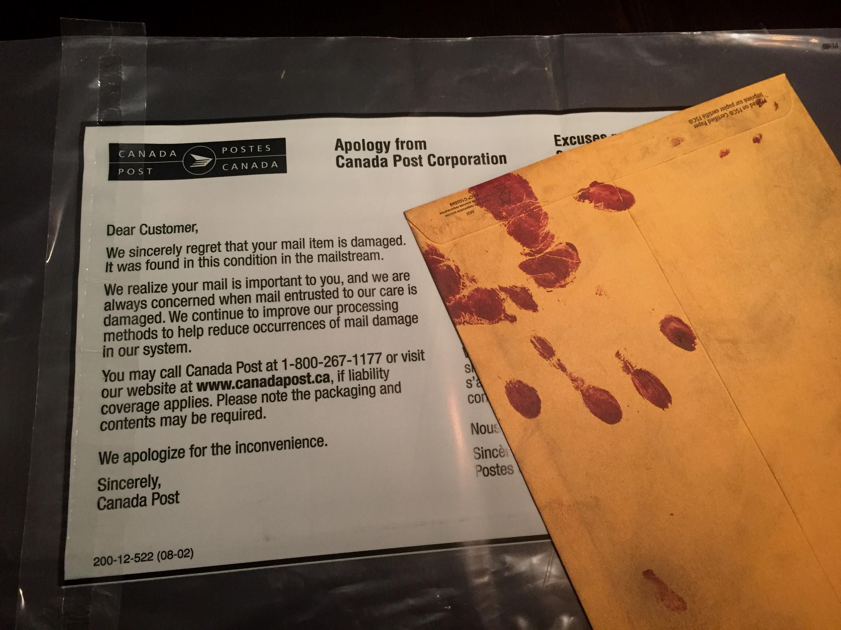 When your friend's Hallowe'en party invites are so epic that Canada Post thinks they were damaged in the mailstream .