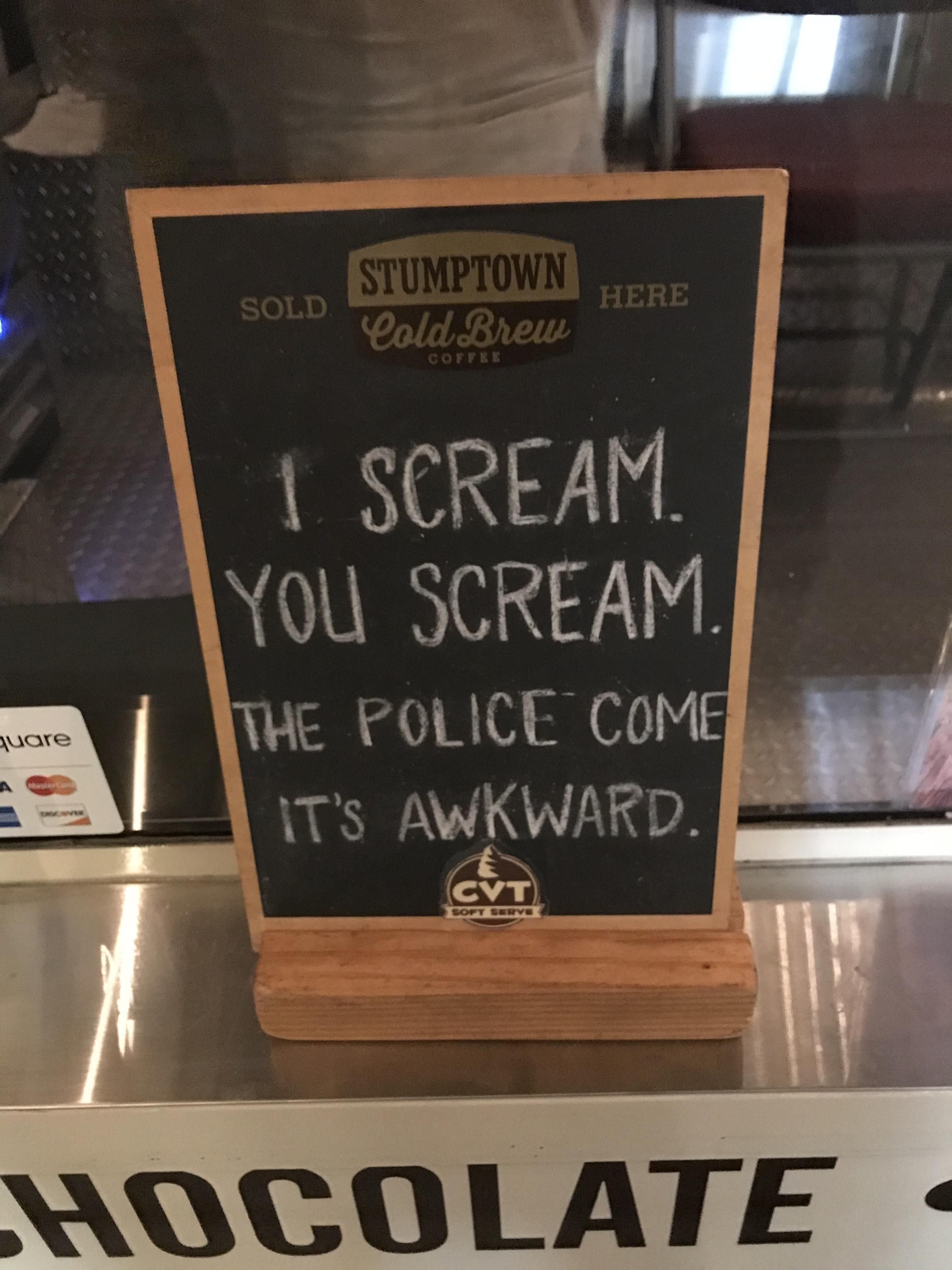 sign outside local ice cream spot