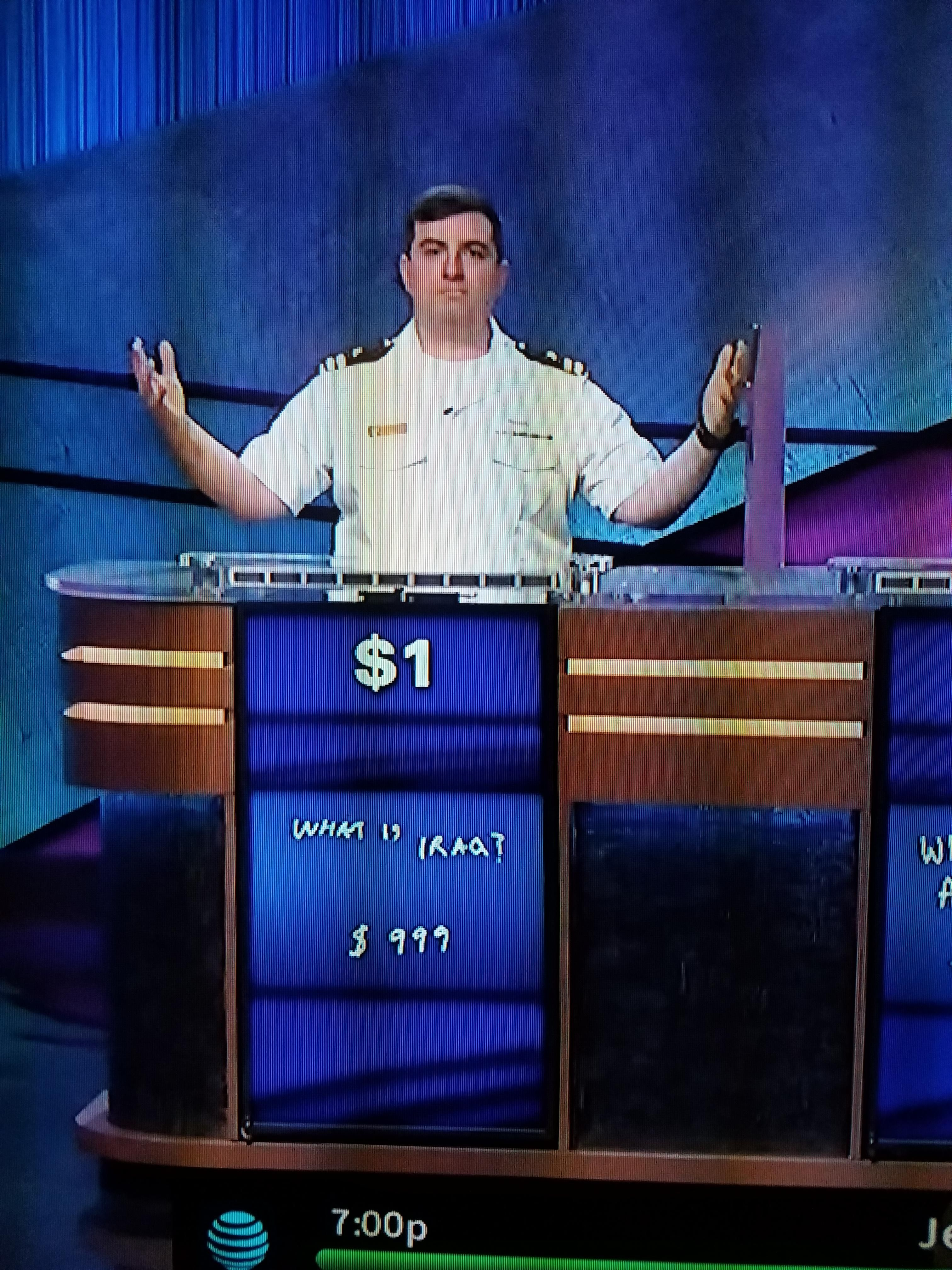 The face of a man who had a score of $1 and still won Jeopardy