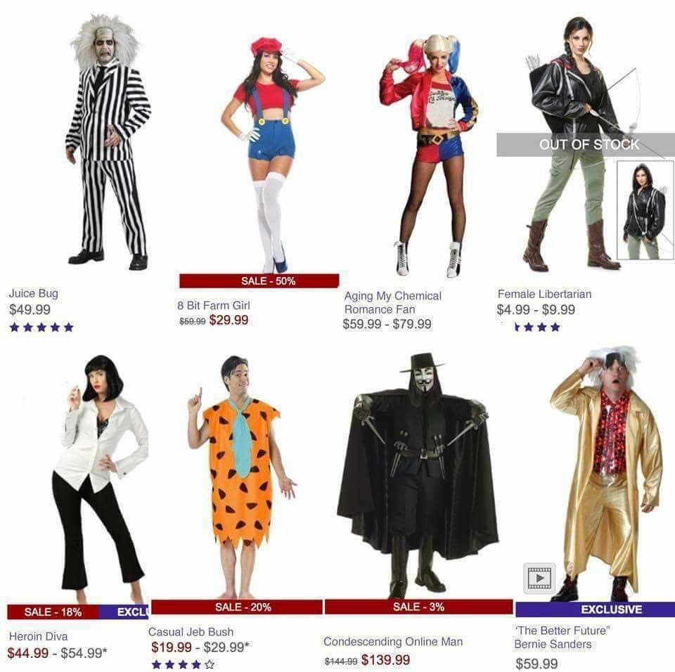 Unlicensed Halloween costume names.